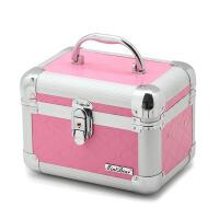 旅行纹绣化妆箱 手提带锁带镜子美甲箱 家用美妆工具箱