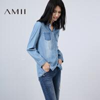 【AMII超级大牌日】[极简主义]2016秋装新款翻领宽松浅蓝色长袖Polo领牛仔衬衫