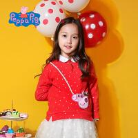 小猪佩奇正版授权童装春季新款女童红色波点卫衣女宝宝纯棉圆领百搭T恤