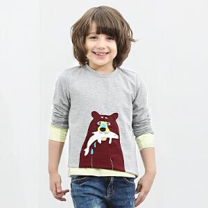 amii童装2017春装新款男童棕色大熊贴布T恤中大童长袖打底上衣