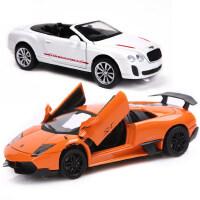 美致合金车模型仿真跑车福特野马奔驰兰博基尼玩具车声光回力汽车