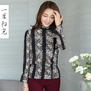 一米阳光2017春季新款韩版修身印花显瘦小衫雪纺衫女短款