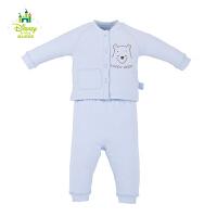 迪士尼宝宝 罗纹领前开套装 婴幼儿套装 棉空气层 秋冬款