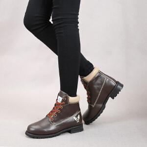 东帝名坊新款时尚系带舒适方跟休闲女靴