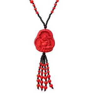 芭法娜 弥勒佛朱砂毛衣链 红色朱砂毛衣链