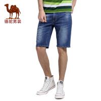 骆驼&熊猫联名系列男装青年时尚中腰拉链直筒牛仔裤短裤子潮男