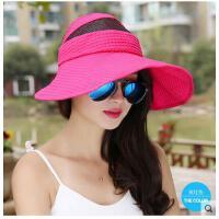 夏天韩版大沿空顶帽户外防晒遮阳帽空顶帽女帽子女防紫外线太阳帽 可礼品卡支付