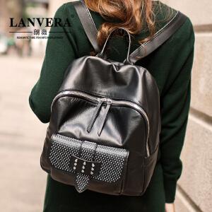 LANVERA 欧美头层牛皮双肩包女包 2017新款真皮女士包包背包旅行包 L2030 【支持礼品卡】