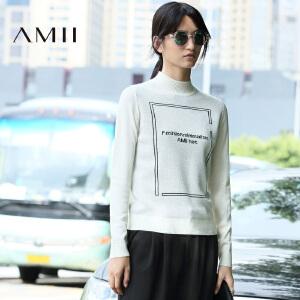 【AMII超级大牌日】[极简主义]2016冬百搭半高领撞色字母针织修身毛衣女11642017