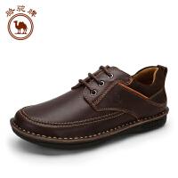 骆驼牌男鞋 秋冬新品头层牛皮日常休闲皮鞋男士潮流系带低帮鞋
