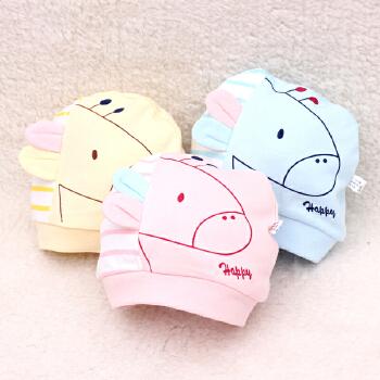 季 0-3月新生儿男女 宝宝胎帽薄款套头纯棉睡帽 婴儿帽子可爱耳朵卡通