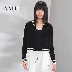 【AMII超级大牌日】[极简主义]2017年春女运动风条纹棉针织修身短毛衣外套11642941