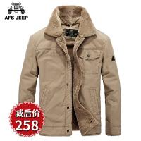 AFS JEEP战地吉普男士棉服春装新款 男装双层领纯棉宽松棉衣外套