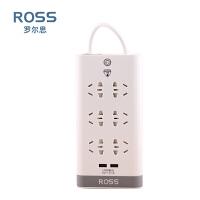 罗尔思(ROSS)USB小五孔插座 W60U(30) 六位总控防雷防过载 3米 象牙白 3米