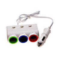 驰航 车载点烟器 一分三USB车用电源分配器LED指示灯 新款彩灯一分三