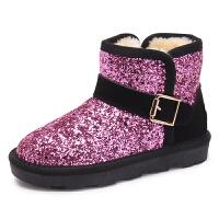 木木屋童鞋冬季新款女童靴子中筒 韩版时尚加绒单鞋潮儿童雪地靴
