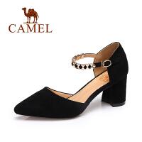 camel骆驼女鞋 2017春夏新款 气质尖头百搭高跟女鞋女神粗跟单鞋