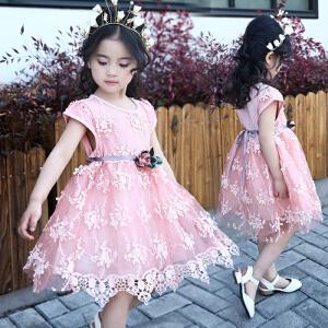 【当当年中庆】夏季童装中小童女童花朵蕾丝连衣裙子兔子公仔纱裙