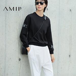 【AMII超级大牌日】[极简主义]2017年春季百搭纯色长袖印花套头学生卫衣女11643044