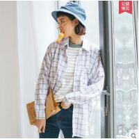 新款韩版时尚宽松学生休闲上衣显瘦翻领长袖衬衣格子衬衫女