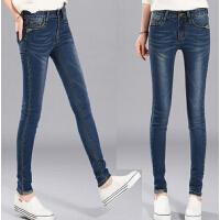 新款保暖外穿绒裤女靴裤 大码弹力小脚裤 加绒加厚牛仔裤