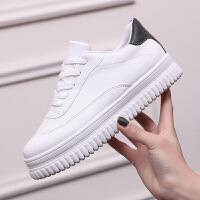春季百搭小白鞋女式松糕鞋厚底学生板鞋子韩版运动鞋女鞋系带休闲鞋