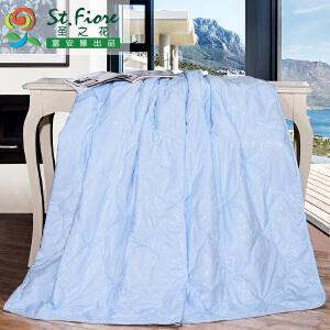 [当当自营]富安娜空调被夏凉被单双人夏季纯棉被子被芯可水洗宿舍被褥��被 妍妍空调被 花吻 浅蓝 1.2m(152*210cm)