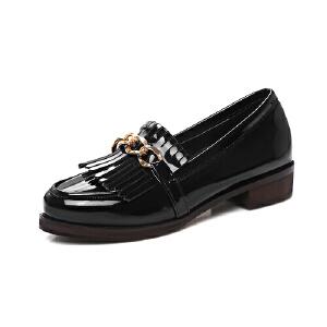 春季新款甜美时尚单鞋优雅流苏套脚女鞋低跟休闲鞋学院风懒人鞋