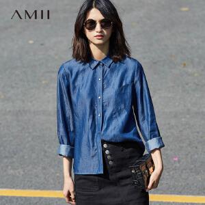 Amii[极简主义]2017春女新通勤尖领长袖大码水洗牛仔衬衫11760212