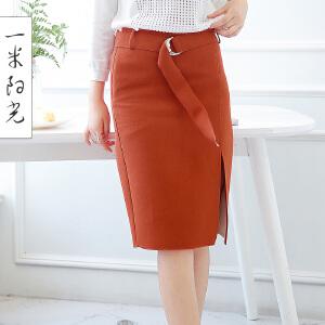 一米阳光2017春装新款韩版系带半身裙包臀裙修身显瘦裙子女