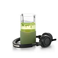 尚明绿茶隔热杯玻璃杯办公杯水杯子不锈钢过滤茶隔热男女士杯S032