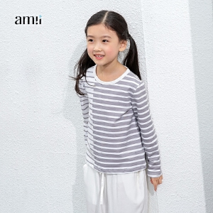 amii童装2017春新款女童长袖T恤条纹撞色儿童中大童休闲上衣百搭