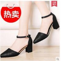 雅诗莱雅粗跟高跟鞋春季新款韩版百搭中跟女鞋春秋尖头单鞋工作鞋春鞋YS-3190-S