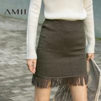 【AMII超级大牌日】[极简主义]2016秋装新品纯色流苏包臀针织大码修身半身裙短裙