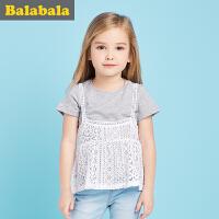 巴拉巴拉宝宝短袖套装女童衣服2017夏季新款小童幼童两件套半袖