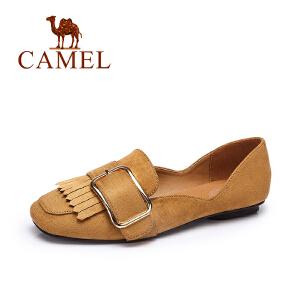 Camel/骆驼女鞋 2017春夏新款 时尚方头方块扣流苏单鞋浅口平底鞋