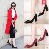 雅诗莱雅春鞋女新款尖头高跟鞋百搭潮性感粗跟单鞋小皮鞋一脚蹬女鞋子YS-3194-S