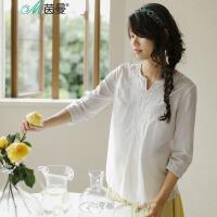 茵曼衬衫女2017春新款套头衬衫白色七分袖纯棉衬衫【1871012257】