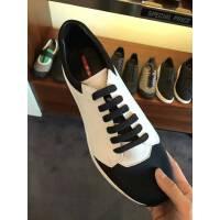 Prada 黑白色拼接系带男士休闲鞋