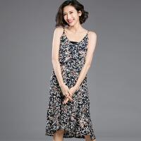 大码女装碎花雪纺连衣裙胖mm新款夏装长裙子沙滩裙韩版显瘦吊带裙 YX1510