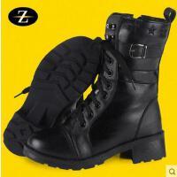 女靴 户外女军靴 保暖靴 加厚羊毛保暖雪地靴女作战靴真皮中筒马丁靴