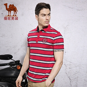 骆驼&熊猫联名系列男装时尚男士商务条纹修身薄款短袖T恤Polo衫男