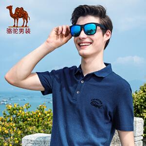 骆驼男装 2017年夏季新款翻领渐变色POLO衫日常男青年短袖T恤衫