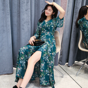2017年新款印花喇叭袖超长裙摆时尚连衣裙