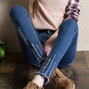 2017春夏秋装新款牛仔裤女小脚铅笔裤弹力修身显瘦磨破长裤子韩版潮女YL103