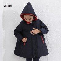 amii童装冬新款女童加厚棉衣中大童宽松棉服儿童棉袄外套女+