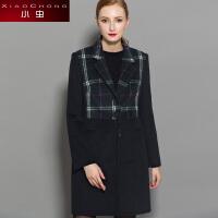 小虫2016冬季新款时尚格纹高腰西装领直筒毛呢外套女修身大衣