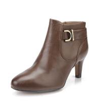 【国内现货】Clarks/其乐女鞋2017秋冬新款真皮时尚休闲高跟短靴Lily Belle专柜正品直邮