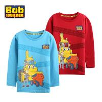 BOB童装巴布工程师春新款男童纯棉T恤长袖卡通圆领全棉套头打底衫