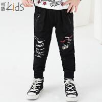 初语童装 冬装新款 男童哈伦卫衣裤 宽松儿童小脚裤子T5319010101